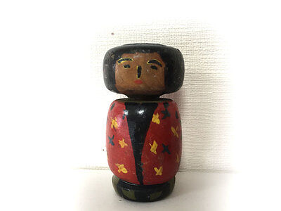 Antique Kokeshi Doll Japanese Wooden Kimono Traditional 100Years Ago Rare