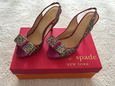 4dc1f01b63bb Kate Spade Charm Heels with Bow - Glitter Hot Pink Size 6 Style   s942345
