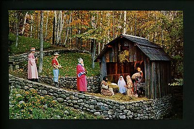 Amusement Park postcard North Pole, New York NY Santa's Workshop Nativity scene