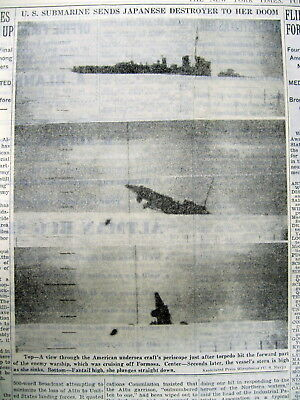 1943 newspaper w 3 sequential photos-Shows US SUBMARINE SINKS a JAPANESE WARSHIP
