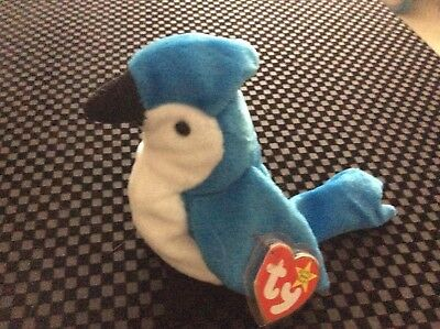 """TY Beanie Baby """"Rocket The Blue Jay"""" Collector Owned"""