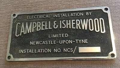 Vintage Steel CAMPBELL & ISHERWOOD Electrical Engineers Newcastle Upon Tyne Sign