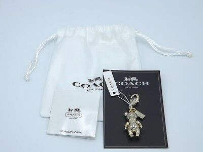 Coach 3D Teddy Bear Charm Clip Purse Charm 58811G Gold Tone New Gift Bag Tissue