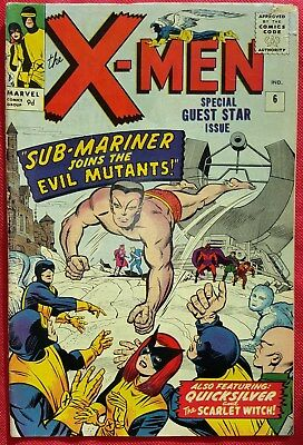 X-Men 6 Marvel Silver Age 1964 Sub-Mariner app Cyclops pin-up