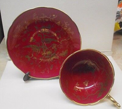 Vtg Coalport Teacup Saucer Cairo Birds & Moths Cranberry Red Gold Gilt# 14186
