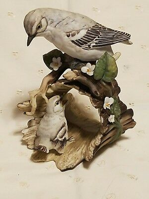 Masterpiece Porcelain Mocking Birds on Log by HOMCO