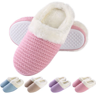 Women's Cable Knit Clog Slippers Fur Lined Slip-on Memory Foam House Shoes