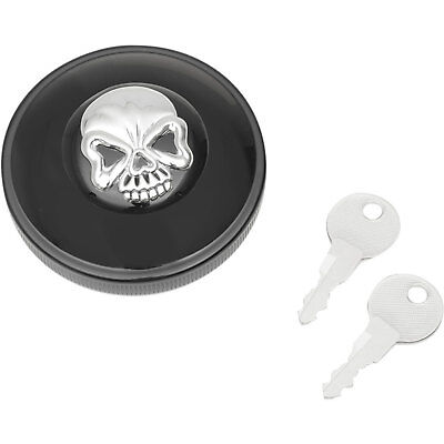 Drag Specialties Black Skull Vented Locking Gas Cap for 1996-2017 Harley
