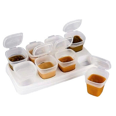 8pcs Baby Kids Weaning Food Freezing Cubes Tray Pots Storage Containers Box.