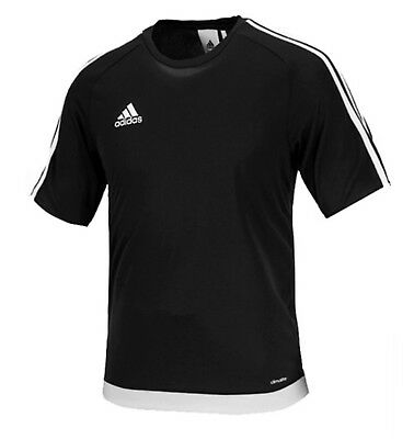 Adidas Men Estro 15 S/S T-Shirts Soccer Black Climalite Tee Top Jersey S16147