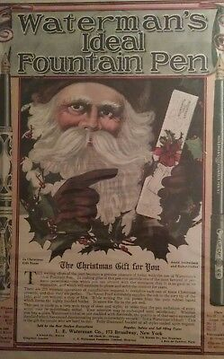 1910 SANTA Waterman's Fountain Pen CHRISTMAS AD