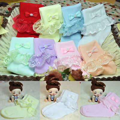 Fashion Kids Girls Lace Bow Soft Cotton Breathable Socks Toddlers Tights Candy