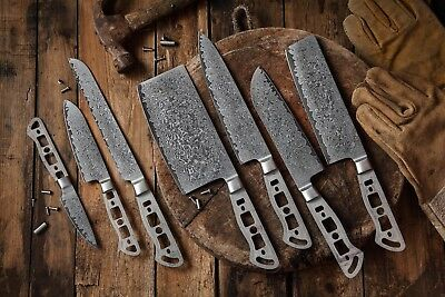 KATSURA Japanese AUS 10 Damascus Steel 67 Layer Chef's Knife set, 7pcs-no logo