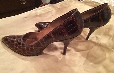 Rare Alligator Women's Heels Shoes Spike True Vintage Saks NYC Sz 8 AAA