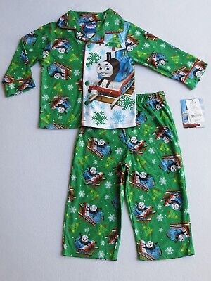NWT THOMAS and FRIENDS Boys Size 2T Christmas Holiday 2-Pc Flannel Pajama Set