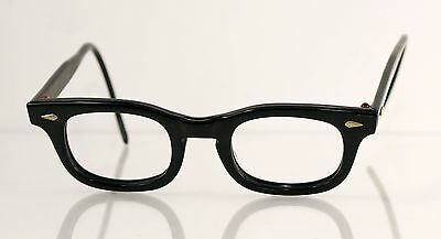Vtg 60s American Optical Black Horn Rim Children's Eyeglass Frames -Cable Temple