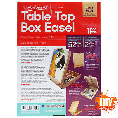 Mont Marte Table Top Box Easel 1 Pce Beech Finish Easy Storage Transport Arts