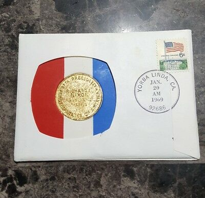President Richard Nixon Inauguration first day cover medal and stamp 1-20-1969
