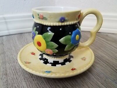"Mary Engelbreit ""Tea Blossoms"" Tea Cup & Saucer ME Ink 2004"
