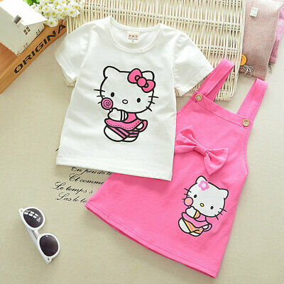 Girls 2PC Sets Hello Kitty Short Sleeve White T Shirt + Pink Bow Dress