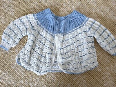 Kids Girls Boys Handmade Knitwear Blue White Long Vest Cardigan Top One Size 0-2
