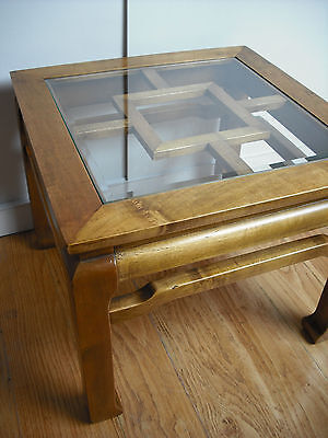 Vintage Chinese Style Glass Top Coffee Table [small/kang/light/wood/not/rosewood