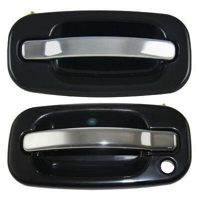 Cadillac Chevy GMC Pickup SUV Set of Front Outside Black w/ Chrome Door Handles