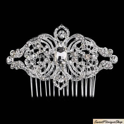 Crystal Hair Comb, Silver, Art Deco, Rhinestone For Wedding, Bride, Bridesmaid