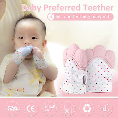 Silicone Baby Mitt Teething Mitten Teething Glove Candy Wrapper Sound Teether DE