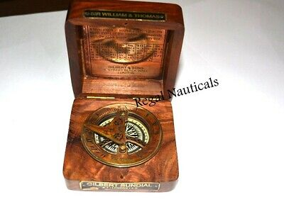 Maritime Sailor Nautical Sundial  Brass Compass & Watch Marine Gift Wood Box