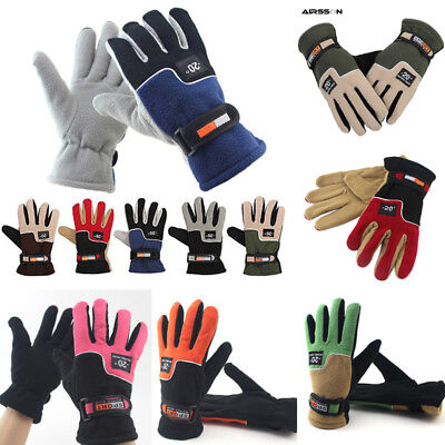 Men Women Warm Fleece Thermal Windproof Motorcycle Ski Snow Full Finger Gloves