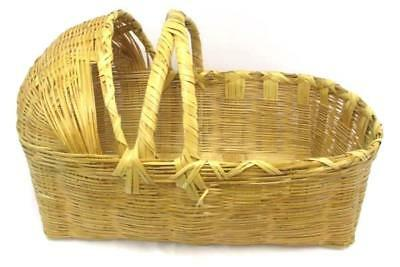 Vintage Wooden Wicker Rattan Woven Moses Basket  Baby Bassinet Bed Hooded Large