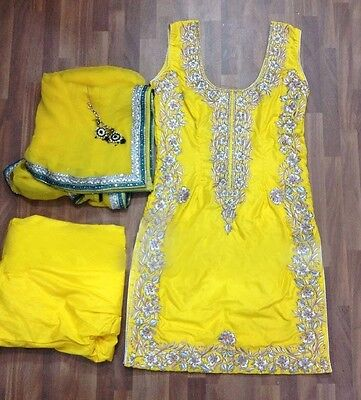 Bright Yellow Traditional Punjabi Patiala Ethnic Designer Indian party wear suit
