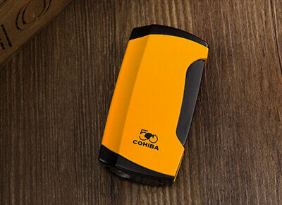 COHIBA  Yellow  WIND-PROOF 2 TORCH JET FLAME CIGAR LIGHTER W/ PUNCH