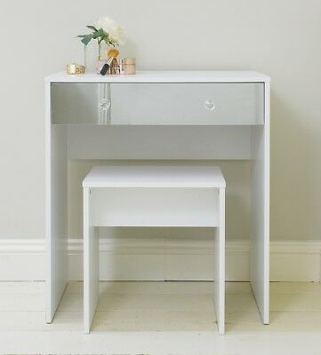 White Mirrored One Drawer Dressing Table & Stool Bedroom Seating