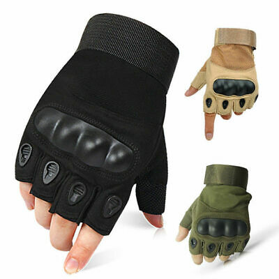 Tactical Hard Knuckle Half Finger Gloves Mens Camping Hiking Climbing Fingerless