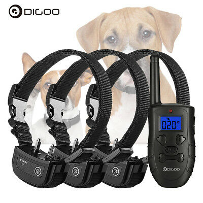 Digoo Waterproof Rechargeable 1/2/3 Dog Shock Training Pet Trainer With Remote