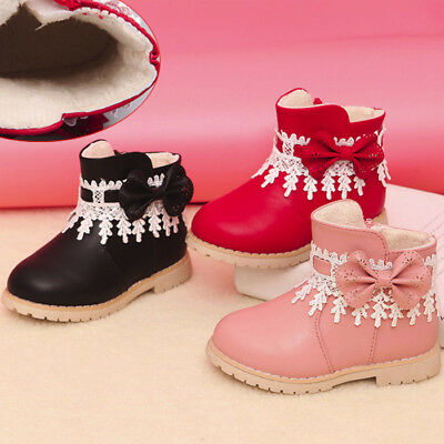 Child Kids Baby Girl Winter Warm Fur Lined Snow Boots Leather Shoes Prewalkers