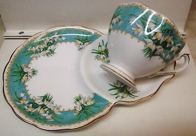 Vtg. Queen Anne 'marilyn' Tea Cup & Saucer / Snack /luncheon Plate Snow Drop