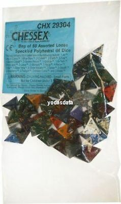 CHX29304 - Bag of 50 Assorted Loose Speckled d4 Dice  - 50 w4 Würfel OVP!