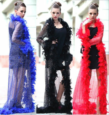 2M Black Pink.Red Feather Boa Hen Night Parties Party Fancy Dress 15 Colours