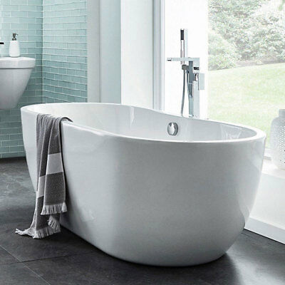 Freestanding Bath Double Ended Oval Bathroom Tub 1650mm White Acrylic