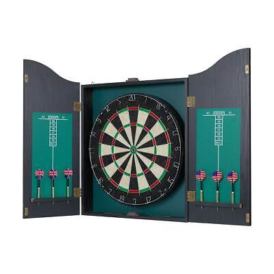 Pub Style Dartboard in Wooden Cabinet with Score Board and Game Darts