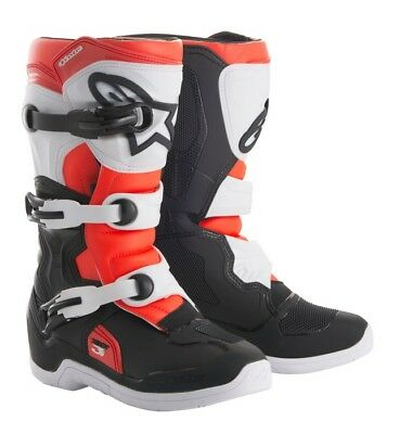 Alpinestars Tech 3S Youth Boots White Black Red Flo New Junior Cheap Motocross