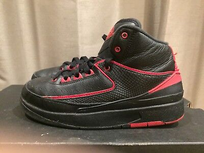2015 Youth Nike Air Jordan 2 II Alternate 87 Black Gym Red Size 5Y Used Rare