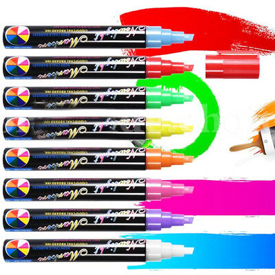 8 Colours 6mm Neon Liquid Chalk Pen Marker Blackboard Glass Window Menu Dual Nib