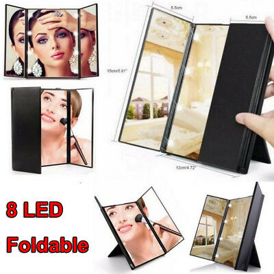8 LED Light Illuminated Foldable Make Up Cosmetic Tabletop Vanity Beauty Mirror