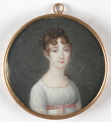 """Portrait of a lady in white empire dress"", French miniature, 1800/1810"