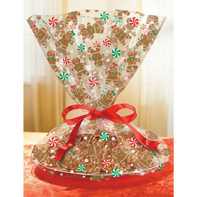 Christmas Xmas Gingerbread Cookie Biscuit Tray Cello Wrap Gift Treat Bags 6pk
