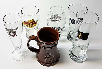 Lot of 6 Assorted Beer Tall Glasses Steins - Coors Light Brick Alexander Keith..